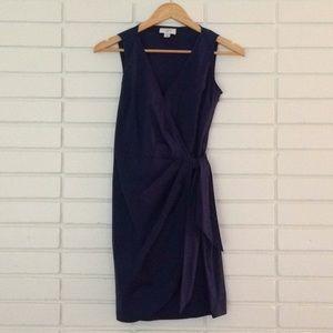 LOFT Navy Blue Cotton V-Neck Wrap Dress